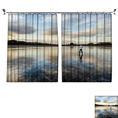 PRUNUS Decorative Curtains has Hook Girl Lake ice Skate Merrily Machine Washable for Easy Care,W72 ()
