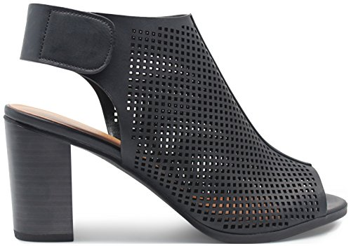 Marco Republic Tuscany Womens Peep Toe Slingback Ankle Strap Perforated Cutout Chunky Block Stacked Heels Sandals Booties Pumps - (Black) - (6 Inch Heels Pumps)