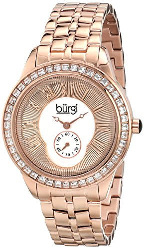 Burgi Women's BUR106RG Crystal Accented Rose Gold Swiss Quartz Watch with Rose Gold Dial and Rose Gold Bracelet