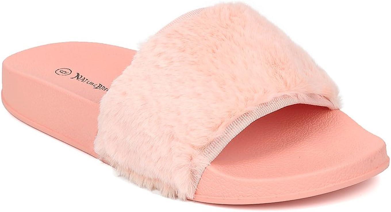 Alrisco Women Furry Open Toe Slip On Flat Sandal HB04