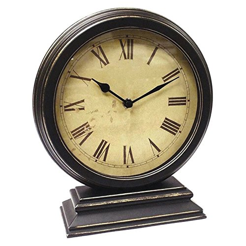 Round Table Clock with Distressed Case and Stand 10.75H x 9W x 3.50D in.