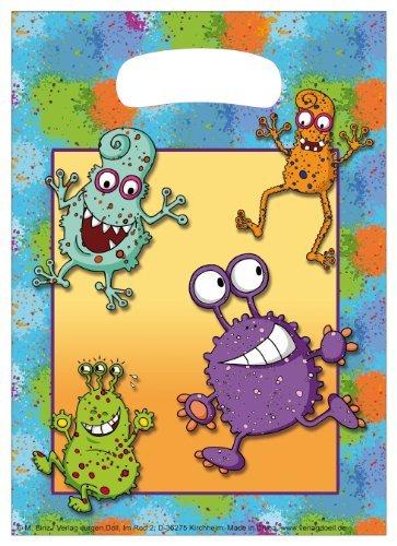 10-teiliges Partytüten-Set * MONSTER * für Kindergeburtstag // Kinder Geburtstag Party Karten Alien Glibber Tüten Partytüten Geschenktüten Mitgebsel