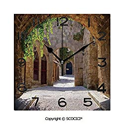SCOCICI Square Wall Clock Ancient Italian Street in A Small Provincial Town of Tuscan Italy European 8 inch Morden Wall Clocks Silent Square Decorative Clock