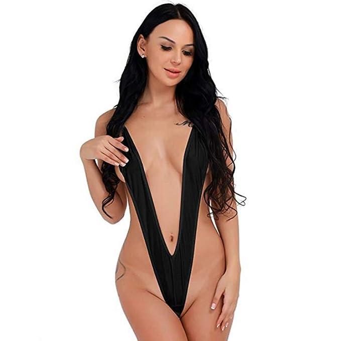c8f463879c331 YiZYiF Sexy Women One Piece Sling Shot Underwear Bikini Monokini Swimwear  Black