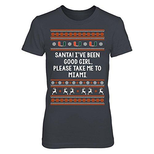 (FanPrint Miami Hurricanes T-Shirt - Santa Good Girl - Premium Women's Tee/Dark)