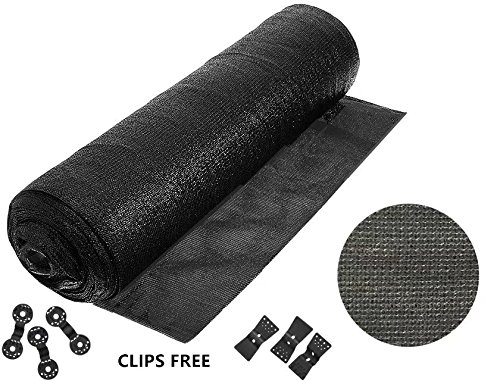 90% 6ft X 20ft Heavy Duty BIack Sunblock Shade Cloth -Cut Edge with Free clips for Plant Cover Greenhouse,Barn,Kennel, Pool, Pergola or Carport