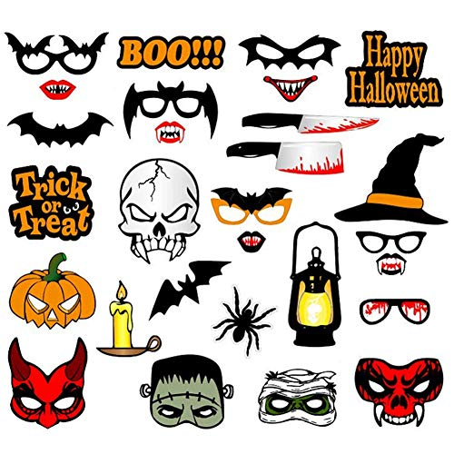Petift Halloween Photo Booth Props 28pcs,Attached to the stick,Halloween Party Decorations Supplies,Creepy Costume Props for Kids Boy Girl,Black,Red Trick or Treat Décor Favor,Birthday Party ()