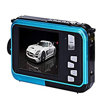 COZYEHOO Underwater Camera for Snorkeling, Waterproof 2.7K 48MP Digital Camera, HD Rechargeable Camera with Dual Screen for Camping