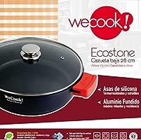WeCook 10200 Cazuela de Cocina Inducción Profesional, Tapa de Cristal, Cacerola Antiadherente, Libre de BPA, 28 cm, Aluminio Forjado