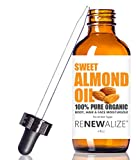 cold press almond oil - ORGANIC SWEET ALMOND OIL MOISTURIZER - in 4 oz Dark Glass Bottle with Dropper | Best Quality 100 Pure , Unrefined Cold Pressed | An Essential Natural Personal Massage Oils for the Skin and Body