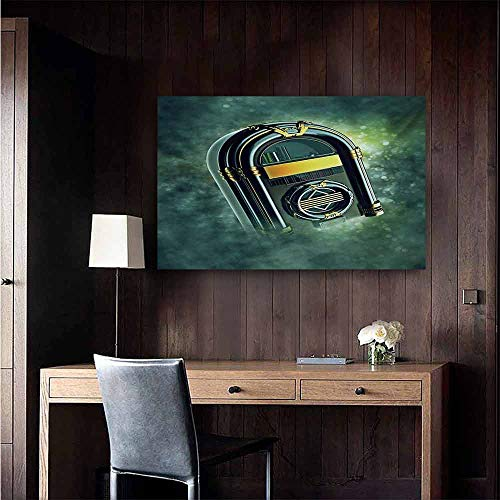 duommhome Jukebox Simulation Oil Painting Abstract Grunge Antique Radio Music Box on Blurry Backdrop Print Decorative Painted Sofa Background Wall 24