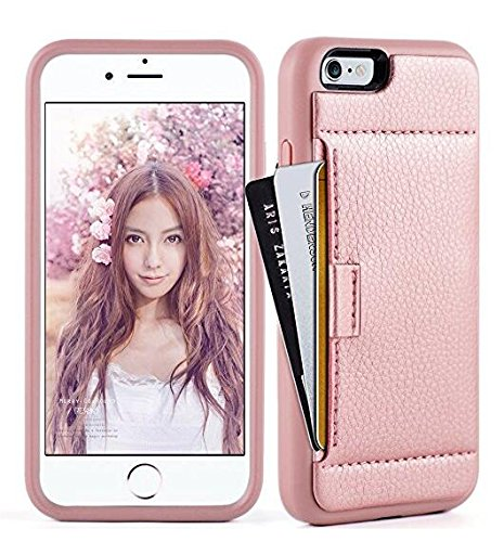 ZVE Case for Apple iPhone 6s Plus and iPhone 6 Plus, 5.5 inch, Slim Leather Wallet Case with Credit Card Holder Slot Pocket Protective Case Cover for Apple iPhone 6 / 6s Plus - Rose Gold