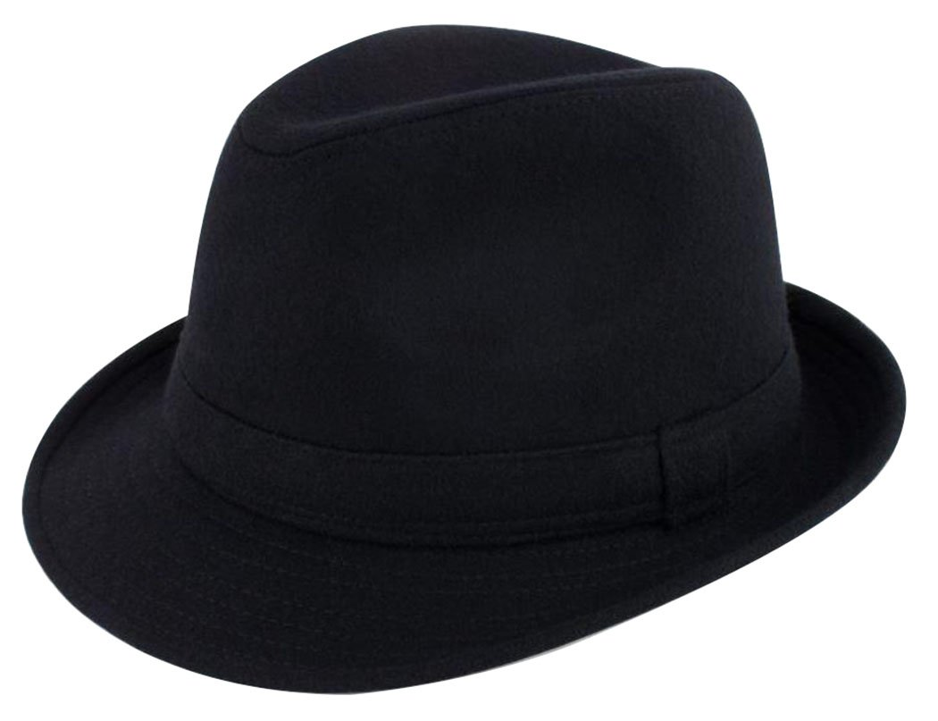 Lullaby Mens Womens Short Brim Manhattan Gangster Trilby Fedora Hat Black