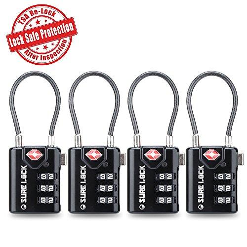 TSA Compatible Travel Luggage Locks, Inspection Indicator, Easy Read Dials- 1, 2 & 4 (Combination Luggage Lock)