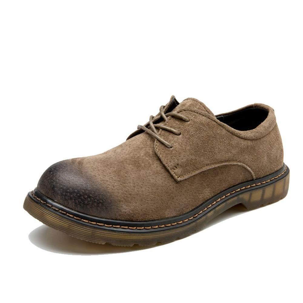 Herren Modische Stiefeletten, Casual OX Leder Schnürschuhe Runde Zehe Arbeitsschuhe (Farbe   Khaki, Größe   47 EU) (Farbe   Wie Gezeigt, Größe   Einheitsgröße)