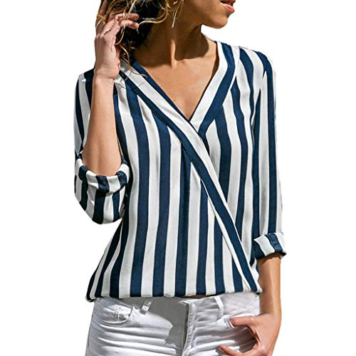 8f36821c3 Womens V Neck Blouses Stripeds Work Office T-Shirt Casual Long Sleeve  Chiffon Shirt Tops