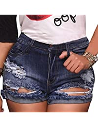 Official Website 2019 Spring And Summer Hot Drilling Edge Hole High Waist Jeans Shorts Womens Hot Pants Casual Denim Shorts Long Performance Life Women's Clothing Jeans