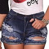 vanberfia Women's High Waist Denim Jean Raw Hem Ripped Shorts with Pockets (JS2018211, XL)