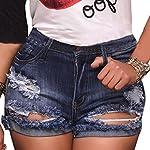 vanberfia Women's High Waist Denim Jean Raw Hem Ripped Shorts with Pockets