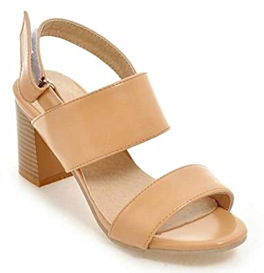 e8f4a07e3 SHOWHOW Women s Fashion Open Toe Hook-and-Loop Sling Back Mid Stack Heel  Sandals