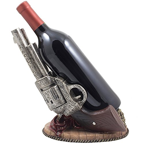 Classic Country Western Six-shooter Pistols Wine Bottle Holder Statue in Vintage Wild West Home Decor Sculptures As Decorative Tabletop Wine Racks & Display Stands or Rustic Gifts for Cowboys by Home 'n Gifts (Image #2)
