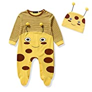 Baby Bodysuit Footie with Cap 2 Pcs Organic Cute Outfit Set