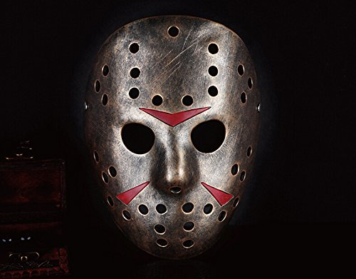 meg 354g Jason Face Mask Cosplay Halloween Mask Bronze Collection Pure Hand Made Man Helmet Movie Theme Top Grate Resin Mask -