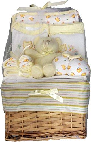 Big Oshi Baby Essentials 10 Piece Layette Basket Gift Set, Yellow, 0-6 Months (Baby Gift Baskets)
