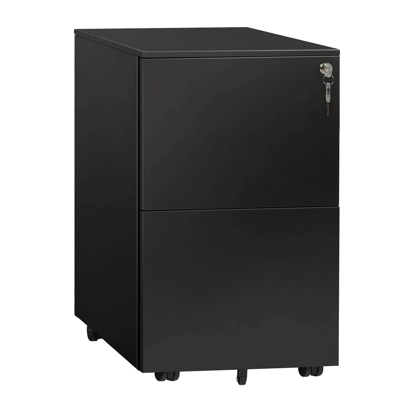 DEVAISE Locking File Cabinet, 2 Drawer Rolling Metal Filing Cabinet, Fully Assembled Except Wheels, Black