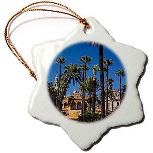 3dRose Spain, Seville, The Alcazar, Gardens - Eu27 Wbi0973 - Walter Bibikow - Snowflake Ornament, Porcelain, 3-Inch (orn_139528_1) by 3dRose