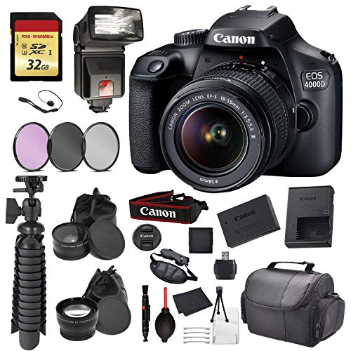 Canon EOS Rebel 4000D Digital SLR Camera with EF-S 18-55mm f/3.5-5.6 DC III Lens Kit (Rebel T100) Accessory Bundle Package with: 32gb SD Card + 3pc Filter Kit + DSLR Bag + More – International Model