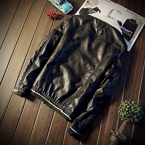 Winter Coat Men's Winter Warm Fur Outerwear Schwarz Coat Collar Huixin Leather Faux Apparel Coat Jacket Winter Jacket Pu Parka AgwW6zq7