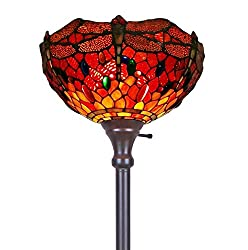 Amora Lighting Tiffany-style AM040FL14 Dragonfly Torchiere Floor Lamp 72 Inches Tall
