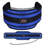ARD Neoprene Dipping Belt Weight Lifting Belt Gym Belt Exercise Belt Heavy Chain Blue