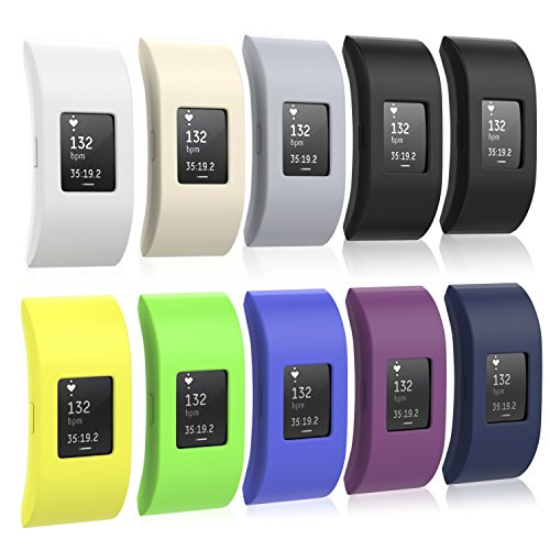 MoKo Fitbit Charge 2 Band Cover , [10 PACK] Soft Silicone Protector Sleeve for 2016 Fitbit Charge 2 Heart Rate + Fitness Wristband, No Tracker, No Band, 9 Colours by MoKo