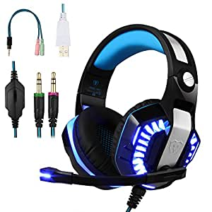 BlueFire Stereo Gaming Headset for PS4,Xbox One Headphones with Mic and LED Lights for PlayStation 4, Xbox One, Laptop,PC,Smartphones (Blue)