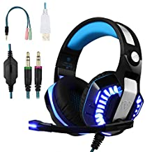 BlueFire Stereo Gaming Headset for PS4,Over-Ear Headphones with Mic and LED Lights for PlayStation 4,Laptop,PC,Smartphones (Blue)