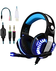 BlueFire 3.5mm Gaming Headset Over Ear Bass Surround Stereo Headphone with Retractable Noise-Cancelling Mic for PS4/Xbox One/Xbox One S/Nintendo Switch/PC/Mobile Phones