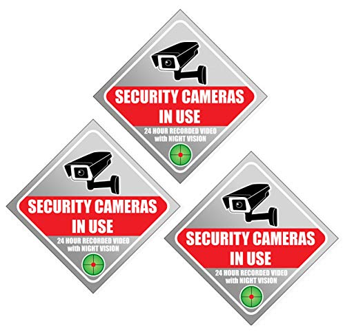 """Security Sign Sticker - Video Surveillance Sign - Large 8.5"""" (3 Pack), Window Cling, 8 mil thick, Camera & Video 24 Hour for Indoor or Outdoor Use Long Lasting Weatherproof - Camera Warning Sticker"""