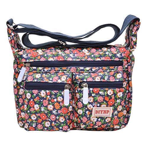 Ladies Nylon Multi-Pocket Crossbody Bags for Women Fashion Waterproof Small Messenger Shoulder Bag 010 Small Floral