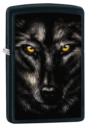 Zippo Lighter: Wolf Face - Black Matte -