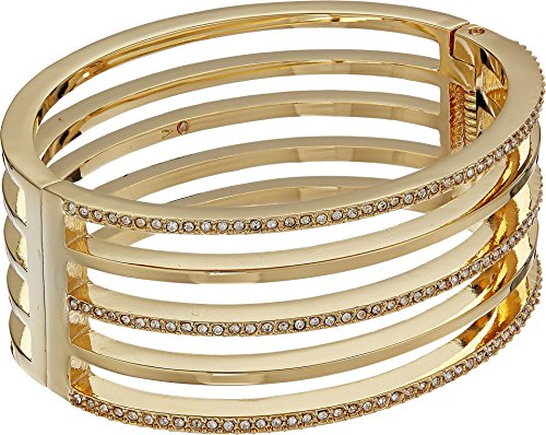 - Vince Camuto Women's Crystal Pave and Metal Hinge Bangle Bracelet Gold One Size
