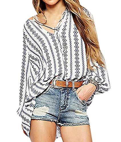 Longues Irregulier Blanc Col Freestyle Manches V Chemisiers Jeune Blouse Fashion T Tops Imprime Shirts Automne Femmes Shirts Hauts Printemps Casual qfwfp6z