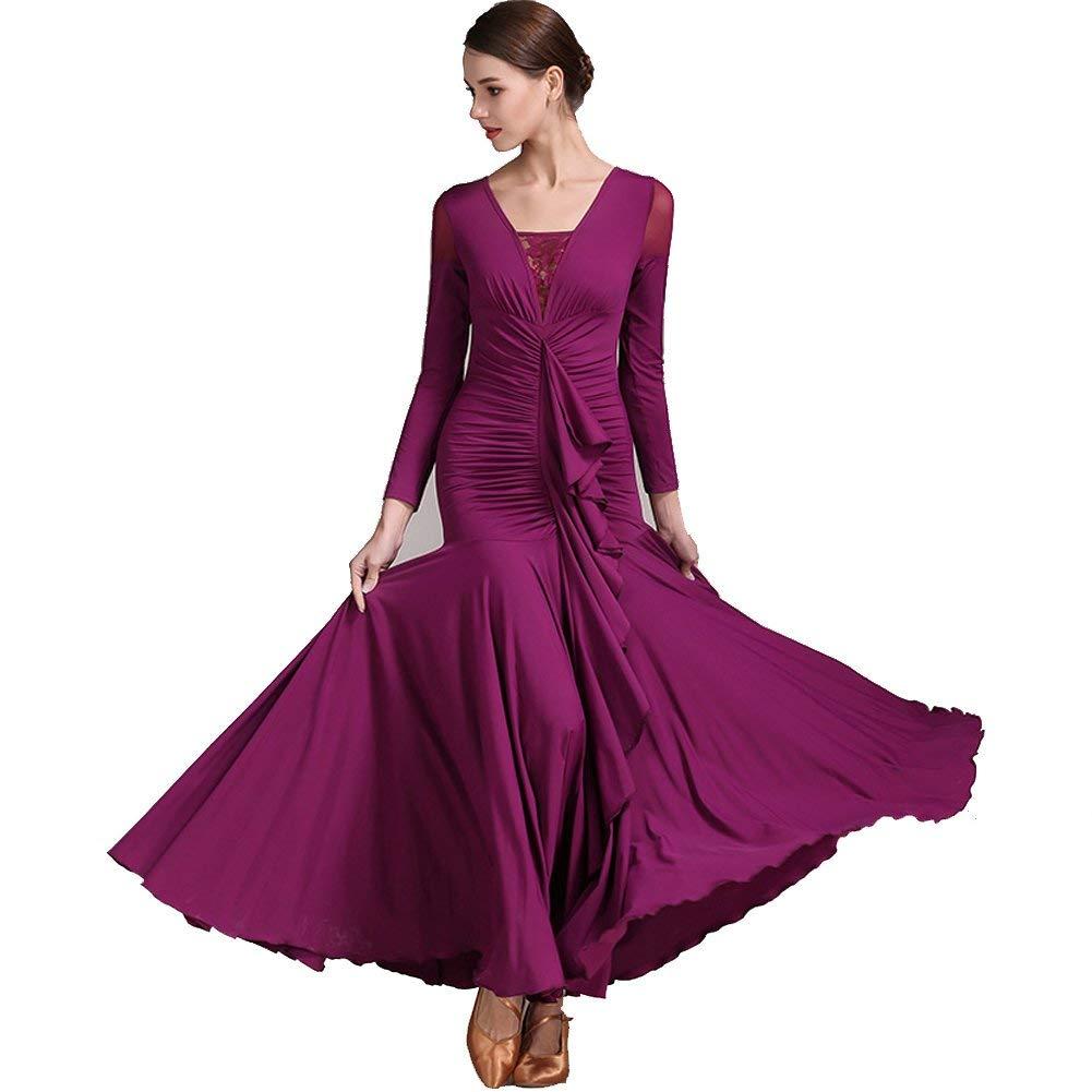 Purple Modern Dance Skirt Retro Cheongsam Collar Ballroom Dance Skirt Skirt Ballroom Dance Skirt Waltz Skirt