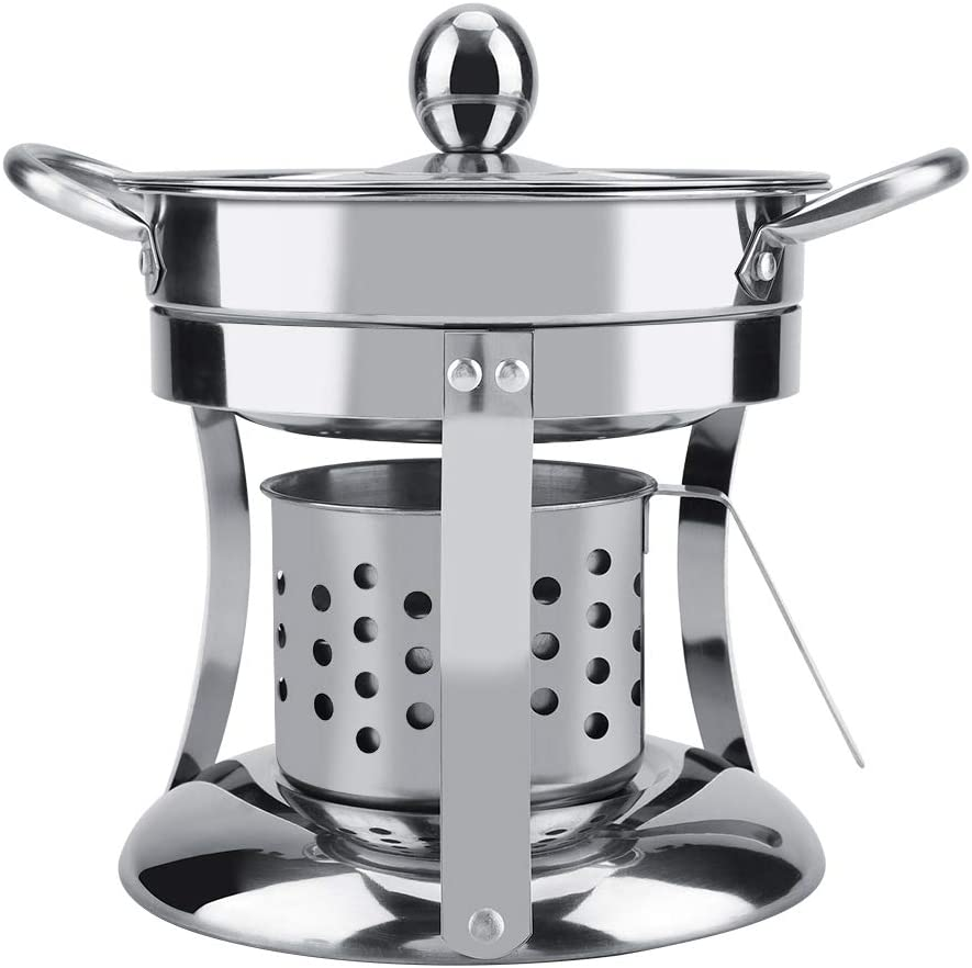Mini Hot Pot Maker Travel Cocina china con olla caliente Diseño de antiplatas antigoteo Estufa de alcohol no magnética de acero inoxidable Quemador de alcohol Shabu Utensilios de olla caliente(silver): Amazon.es: Hogar