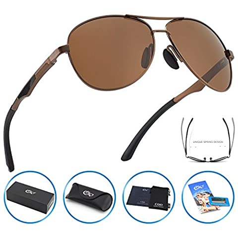 CGID GA61 Premium Al-Mg Alloy Aviator Polarized Sunglasses UV400, Full Mirrored Spring Hinges Sun Glasses for Men (Aluminum Case Sunglasses)