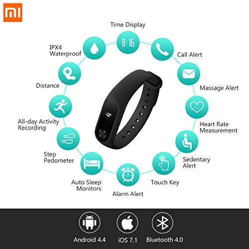 Fitness Tracker, Xiaomi Mi Band 2 Activity Tracker Wristband Smart Bluetooth 4.2 Wireless Heart Rate Monitor IP67 Water-Resistant Wristband Watch With OLED Display for iPhone, Android phones