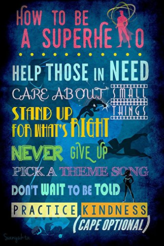 How to be a Superhero Instructional Art Poster - Kid Movie Poster