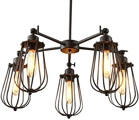 Vintage Country Rustic Dining Room Chandelier Fixtures 5 Heads Restaurant Ceiling Pendant Lights Northern Europe Bar Counter Industrial Grapefruit Pendant Lamps