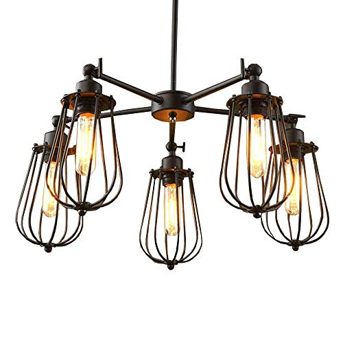 Vintage Country Rustic Dining Room Chandelier Fixtures 5 heads Restaurant Ceiling Pendant Lights Northern Europe Bar Counter industrial Grapefruit Pendant Lamps Review